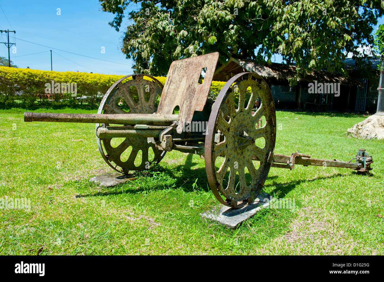 Second World War relic at the Betikama SDA mission, Honiara, capital of the Solomon Islands, Pacific - Stock Image