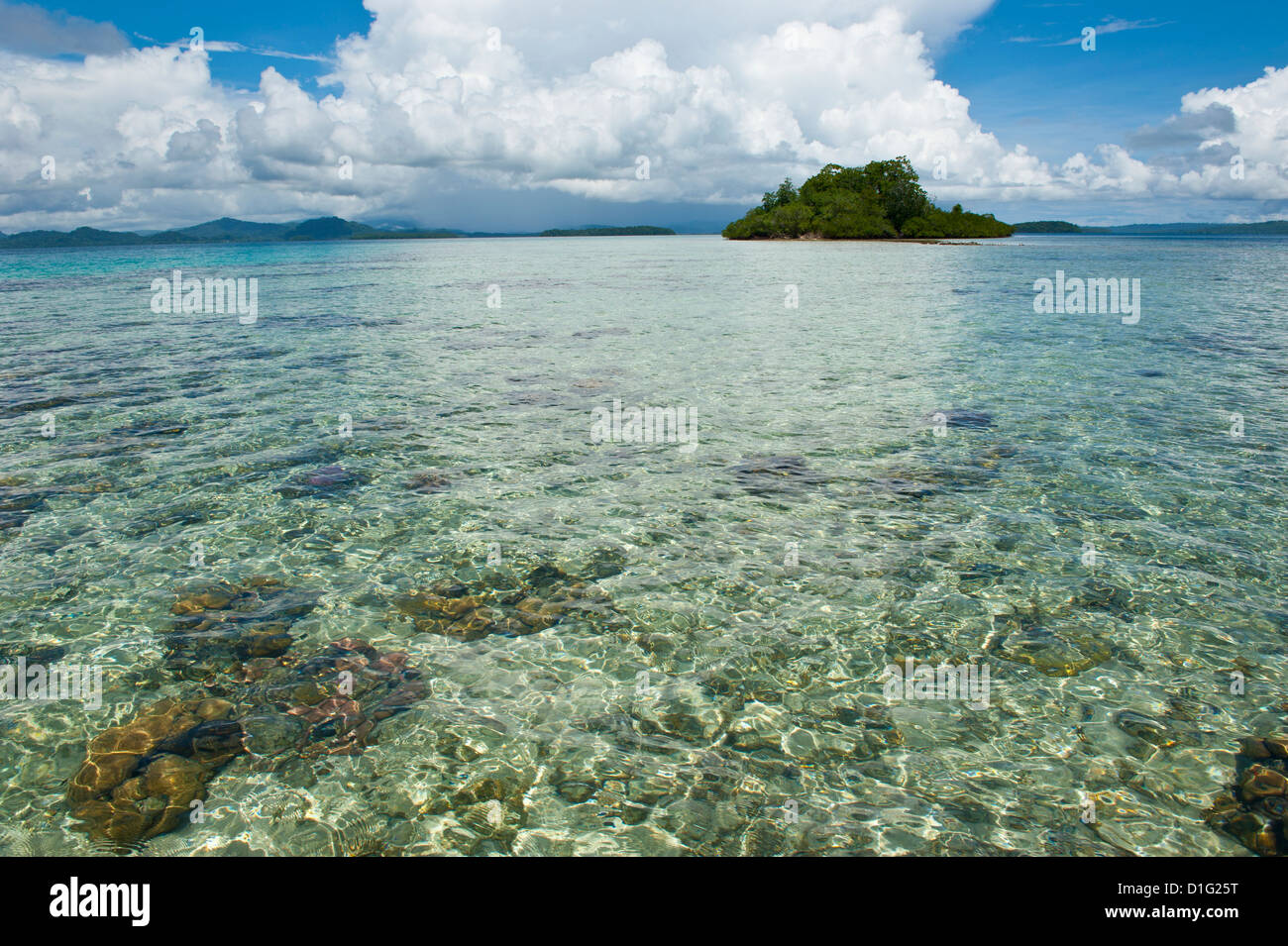 Crystal clear water in the Marovo Lagoon, Solomon Islands, Pacific - Stock Image