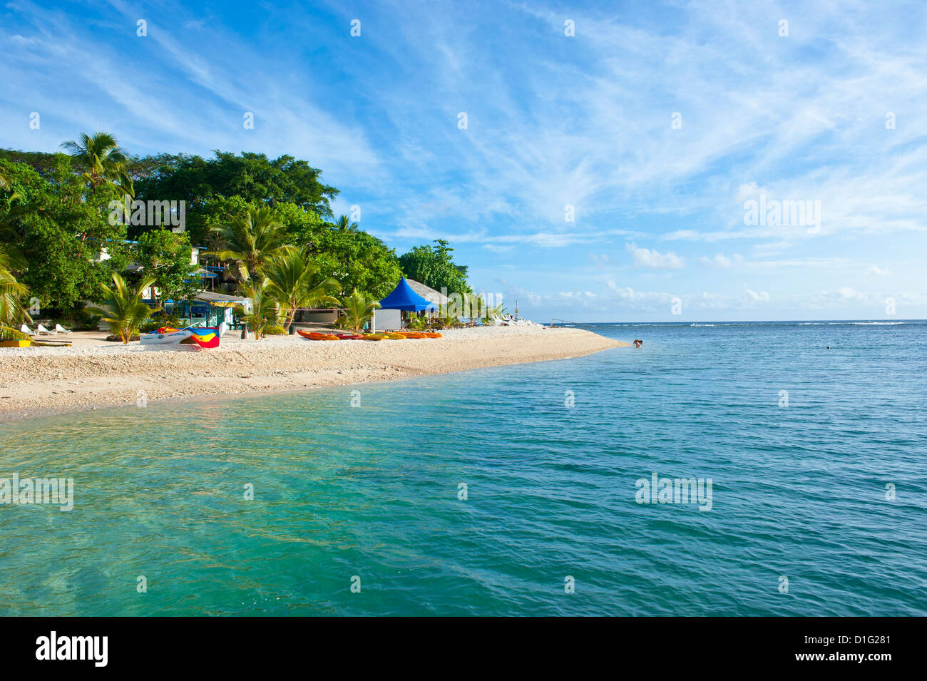 White sand beach at Hideaway Island near Port Vila, Island of Efate, Vanuatu, South Pacific, Pacific - Stock Image