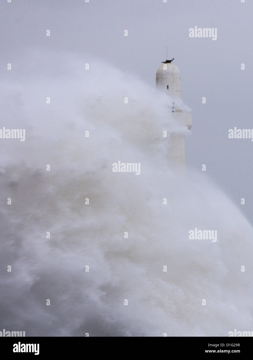 Breakwater at Aberdeen, Scotland under pressure from storm on Thursday 20th December 2012 about 10am. - Stock Image