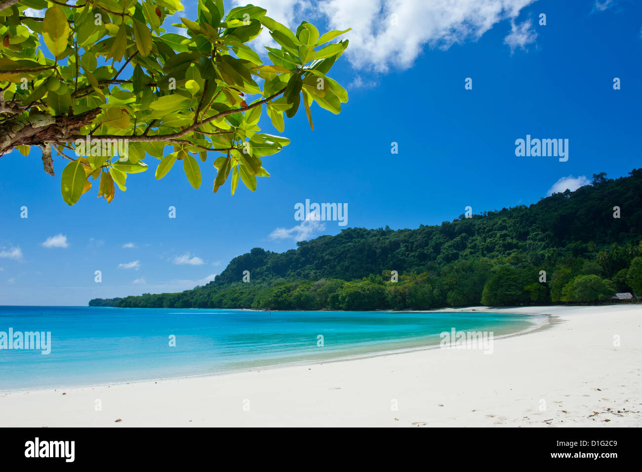 Turquoise water and white sand at the Champagne beach, Island of Espiritu Santo, Vanuatu, South Pacific, Pacific - Stock Image