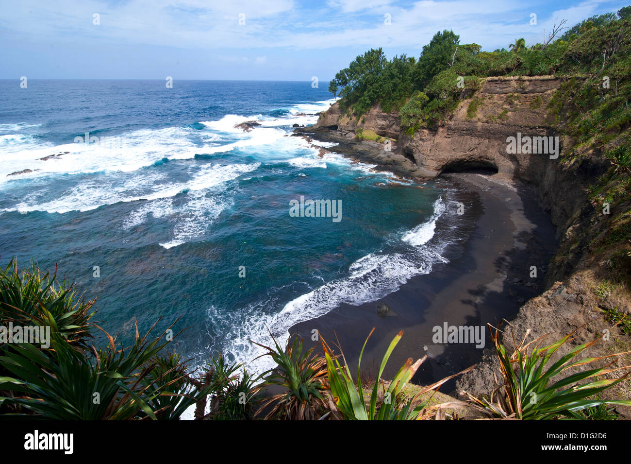 View over Shark Bay below Volcano Yasur, Island of Tanna, Vanuatu, South Pacific, Pacific Stock Photo