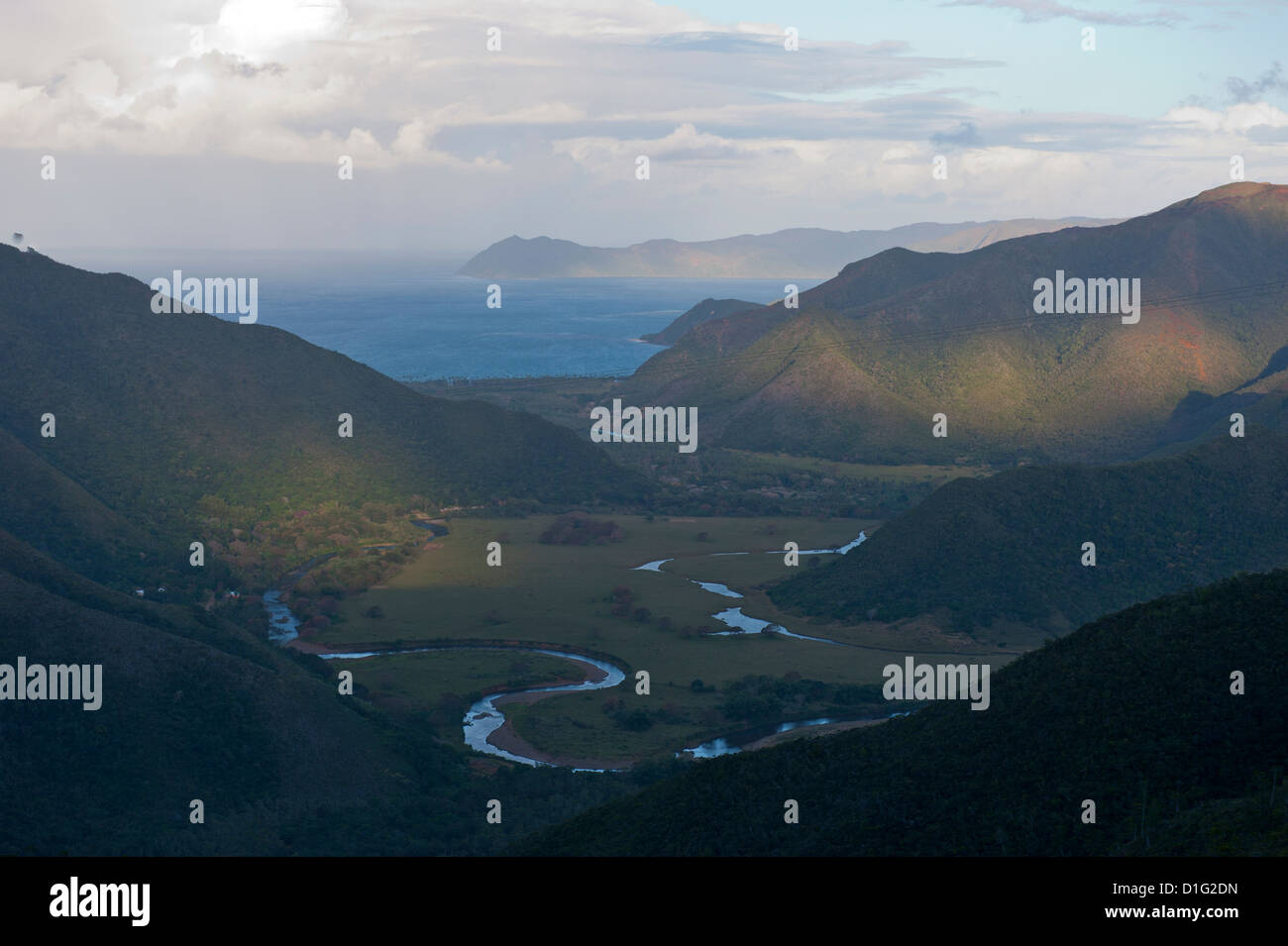 View over the east coast of Grande Terre, New Caledonia, Melanesia, South Pacific, Pacific - Stock Image