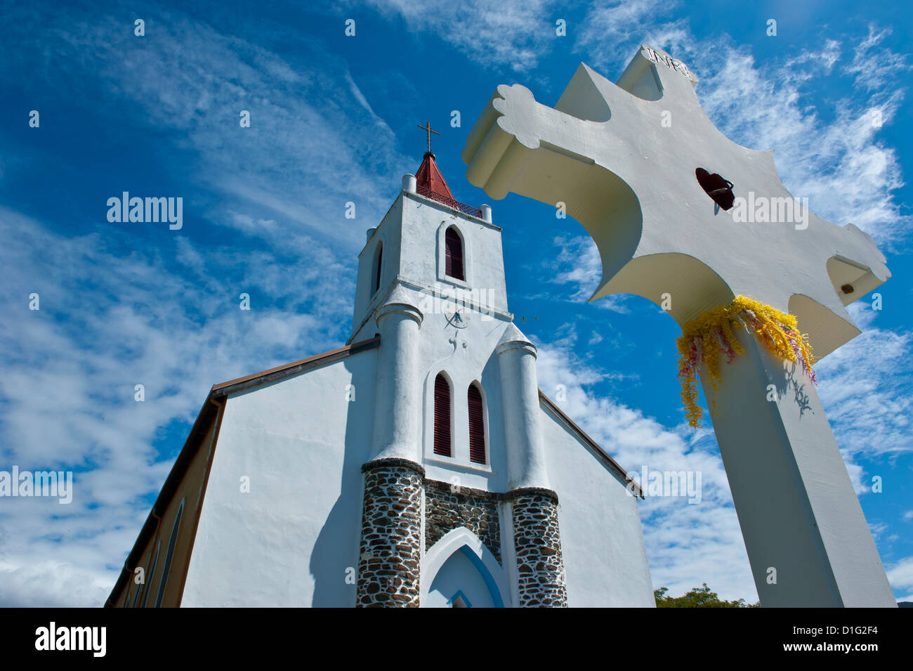 Church near Pouebo on the east coast of Grande Terre, New Caledonia, Melanesia, South Pacific, Pacific - Stock Image
