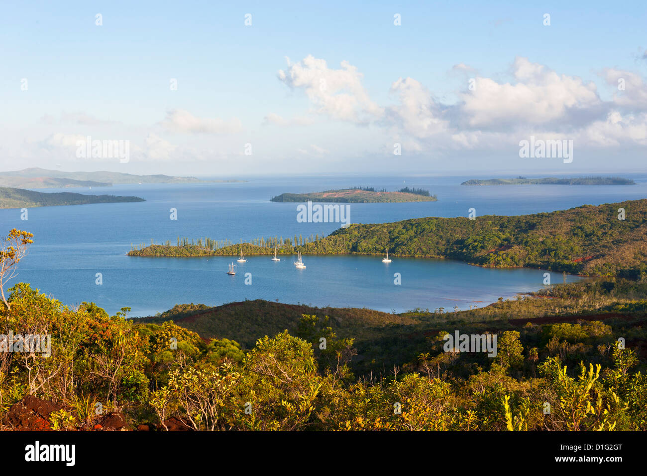 View over the south coast of Grande Terre, New Caledonia, Melanesia, South Pacific, Pacific - Stock Image