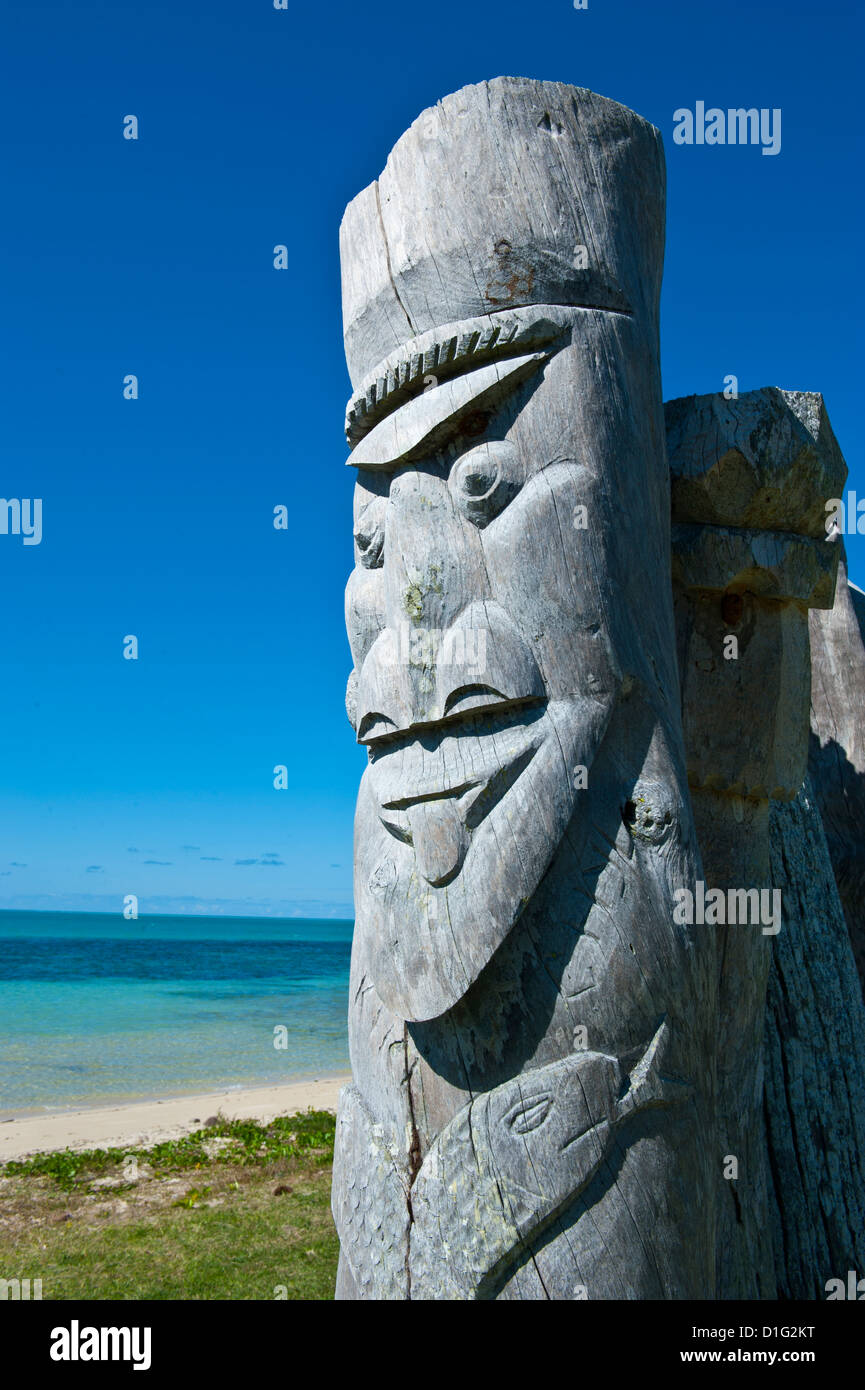Traditional wood carving at the Ile des Pins, New Caledonia, Melanesia, South Pacific, Pacific - Stock Image