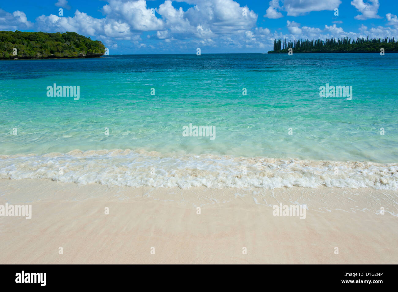 White sand beach, Bay de Kanumera, Ile des Pins, New Caledonia, Melanesia, South Pacific, Pacific - Stock Image