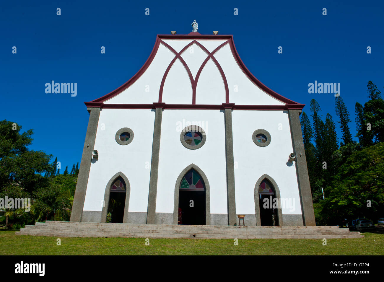 The Christian church of Vao, Ile des Pins, New Caledonia, Melanesia, South Pacific, Pacific - Stock Image