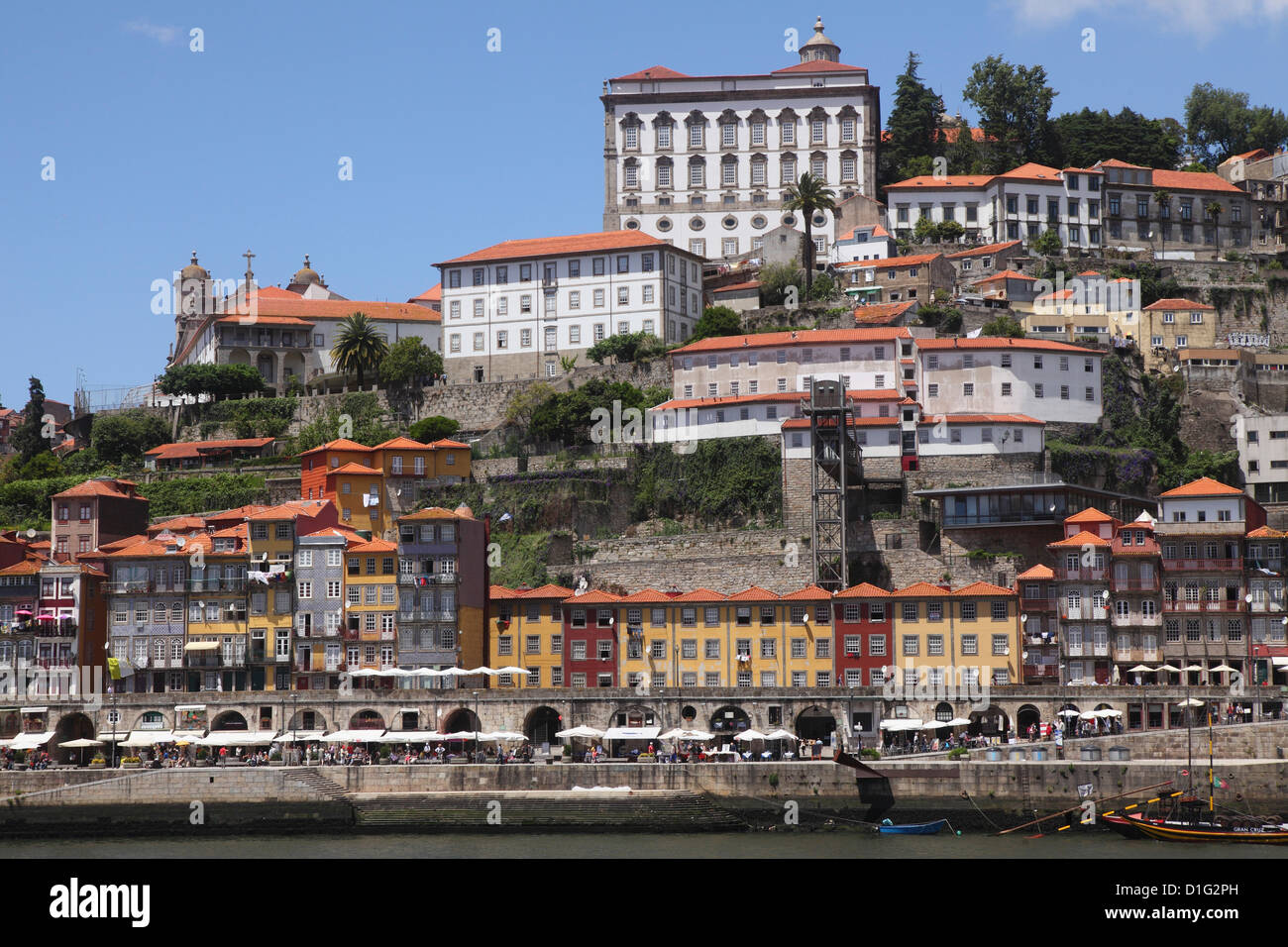 Buildings overlook the River Douro on the Ribeira District, UNESCO World Heritage Site, Porto, Douro, Portugal, - Stock Image