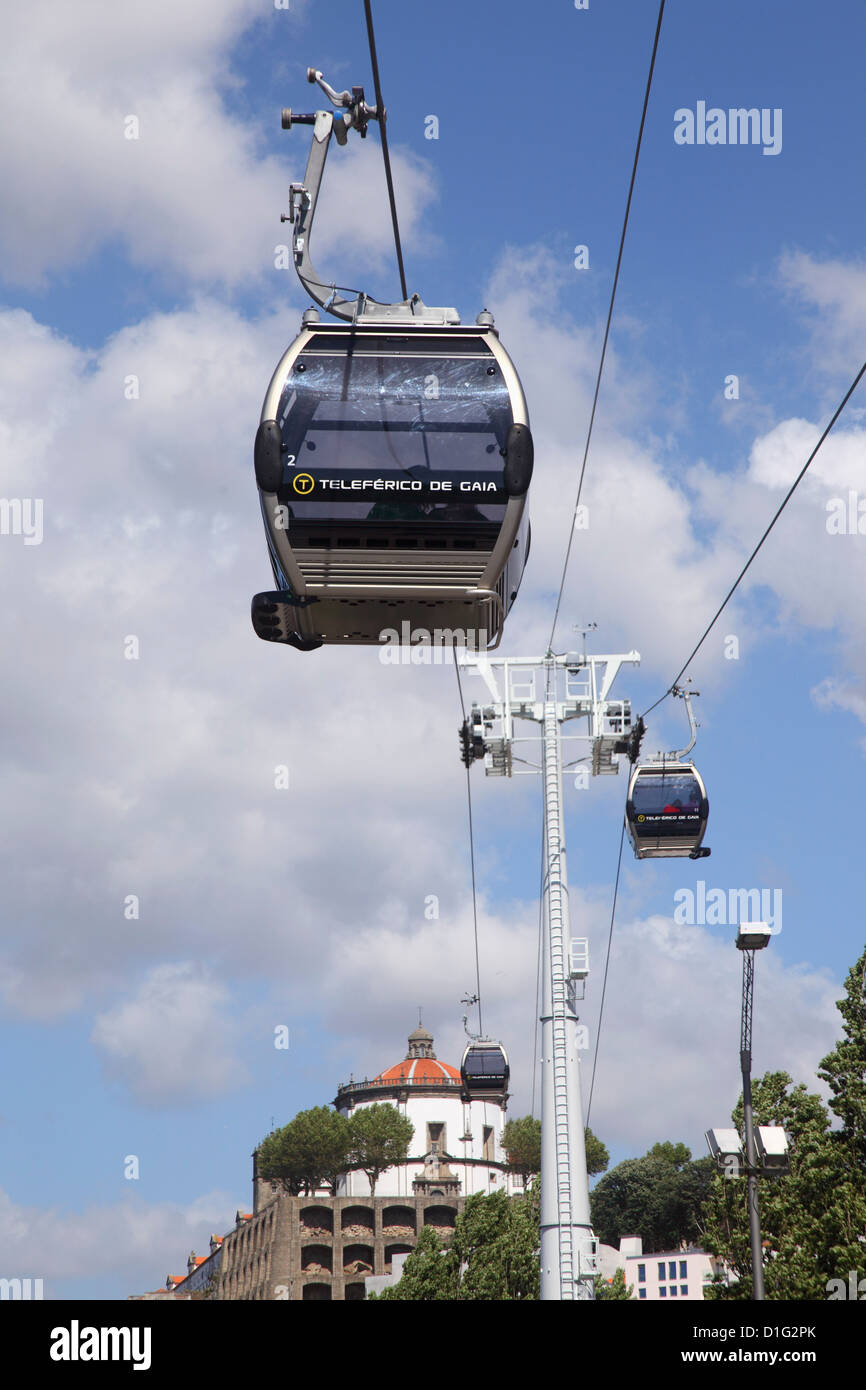 Cable car along the riverside, Vila Nova de Gaia, Porto, Douro, Portugal, Europe - Stock Image