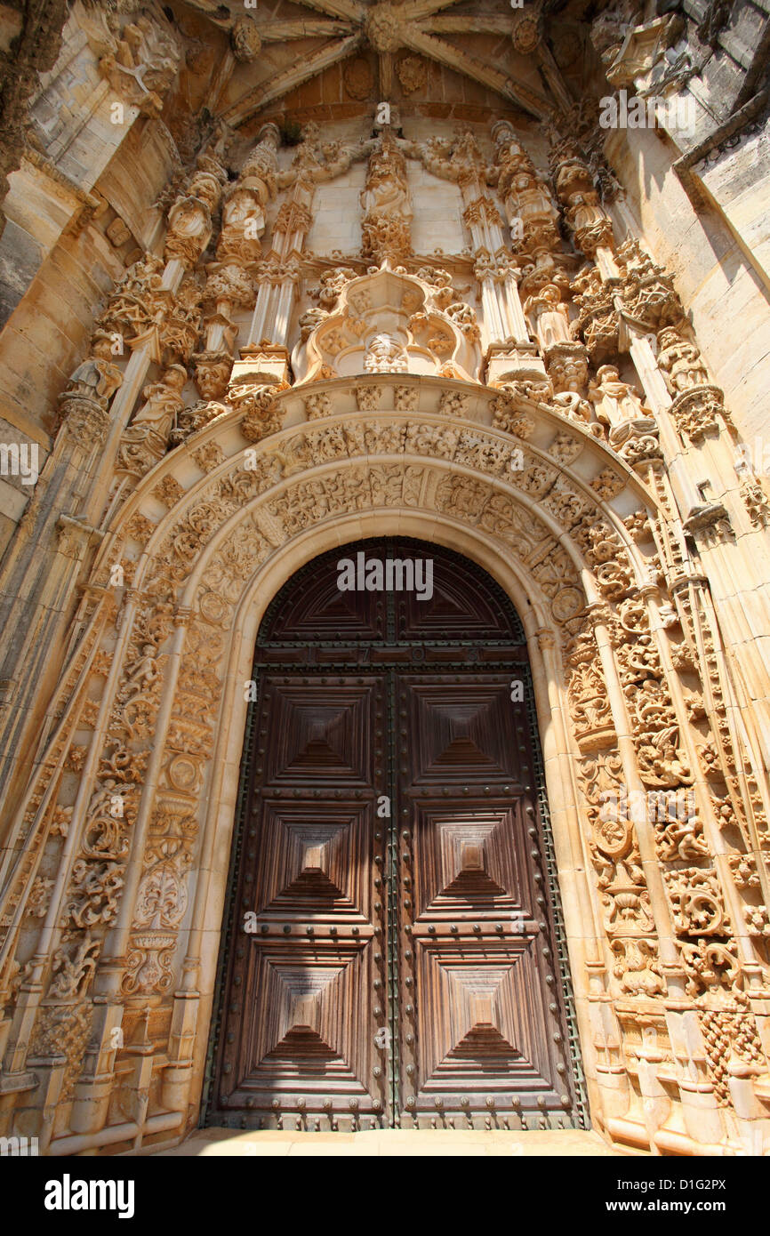 Manueline Main doorway, by Joao de Castilho, Convent of Christ, UNESCO World Heritage Site, Tomar, Ribatejo, Portugal, - Stock Image