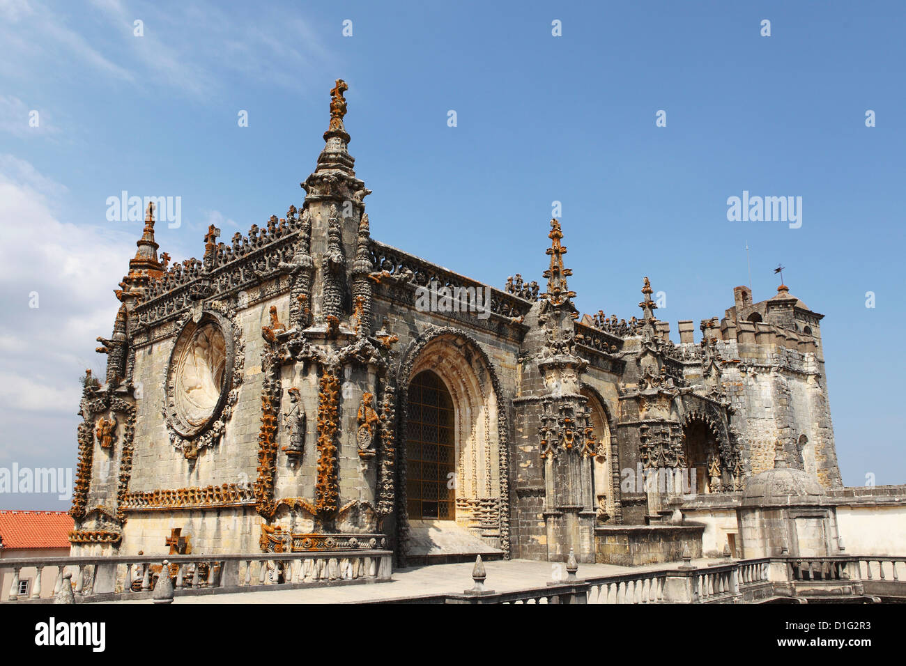 Manueline style Chapterhouse, Convent of Christ (Convento de Cristo), Tomar, Ribatejo, Portugal, Europe - Stock Image