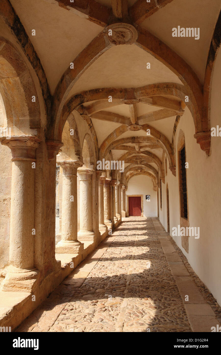 Vaulted arch cloisters within the Convent of Christ, associated with the Knights Templar, Tomar, Ribatejo, Portugal, - Stock Image