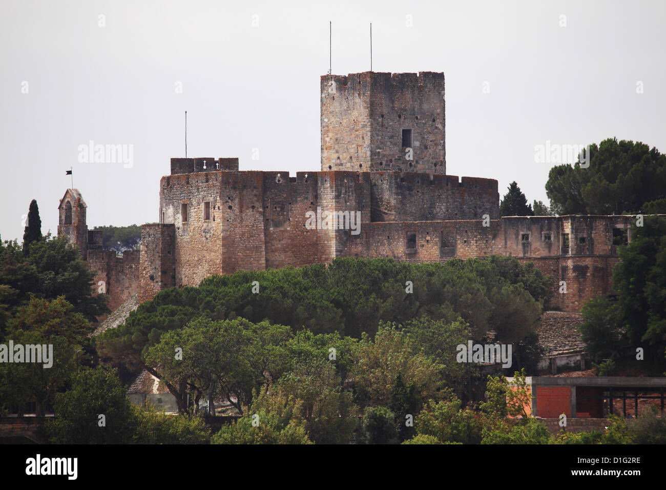 Castle keep and walls, part of the fortress founded by the Knights Templar, the Convent of Christ, Tomar, Ribatejo, - Stock Image