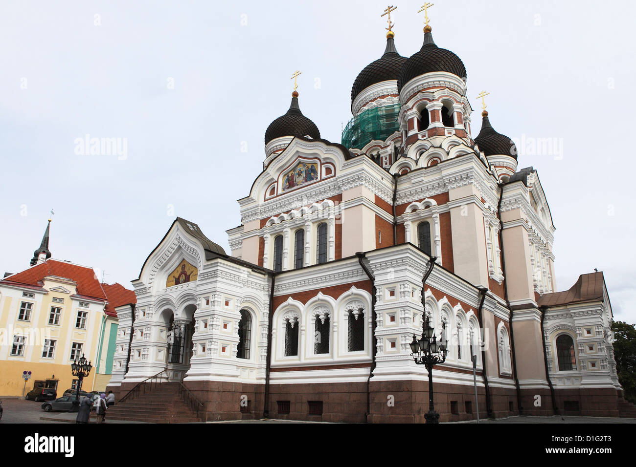 Alexander Nevsky Cathedral, a Russian Reviival style Orthodox church, by Mikhail Preobrazhensky, Toompea, Tallinn, - Stock Image