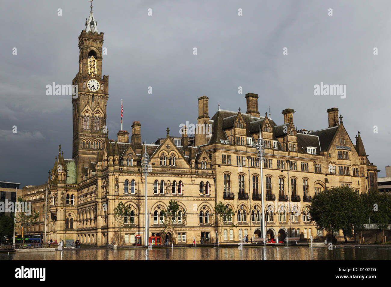 Bradford City Hall, a Venetian Gothic facade, on an overcast day, Bradford, West Yorkshire, Yorkshire, England, - Stock Image