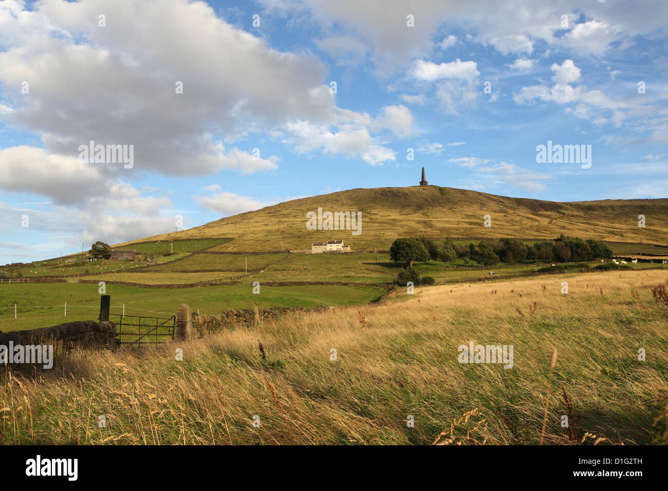 Stoodley Pike, memorial to the defeat of Napoleon, on the Pennine Way, Todmorden, West Yorkshire, Yorkshire, England - Stock Image