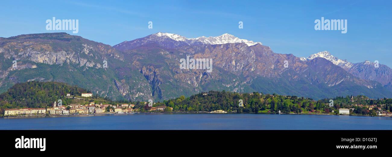 Panoramic view of Bellagio, Lake Como in spring sunshine, Lombardy, Italian Lakes, Italy, Europe - Stock Image