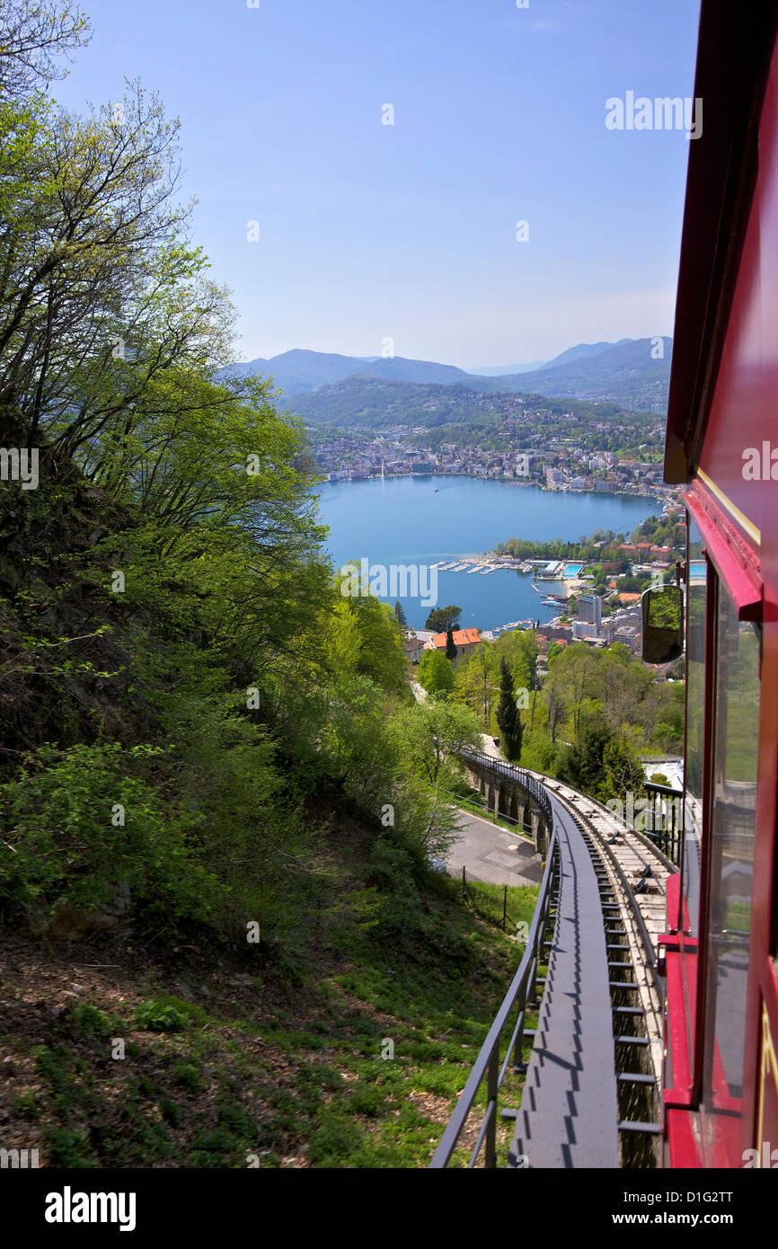 View of Monte Bre Funicular, Lake Lugano, Lugano, Ticino, Switzerland, Europe Stock Photo