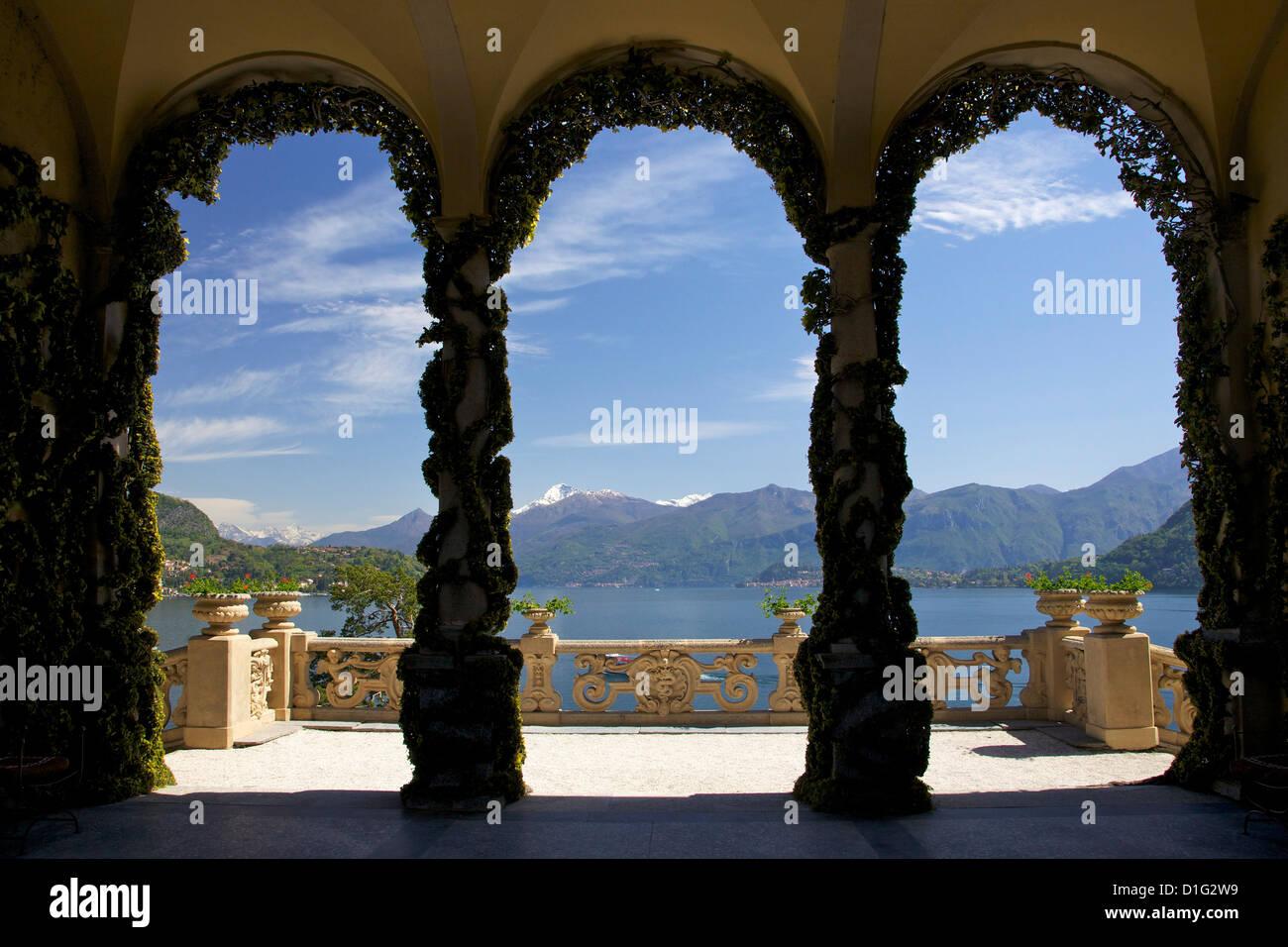 Loggia and gardens of the Villa del Balbianello on Punta di Lavedo in spring sunshine, Lenno, Lake Como, Italian - Stock Image