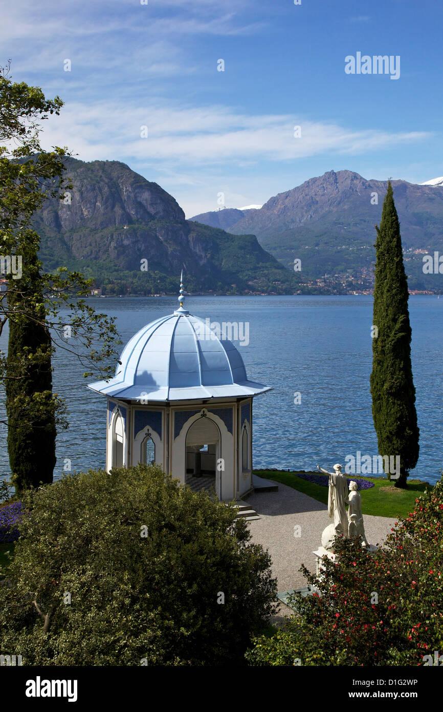 Moorish style classical temple, Gardens of Villa Melzi, Bellagio, Lake Como, Lombardy, Italian Lakes, Italy, Europe - Stock Image