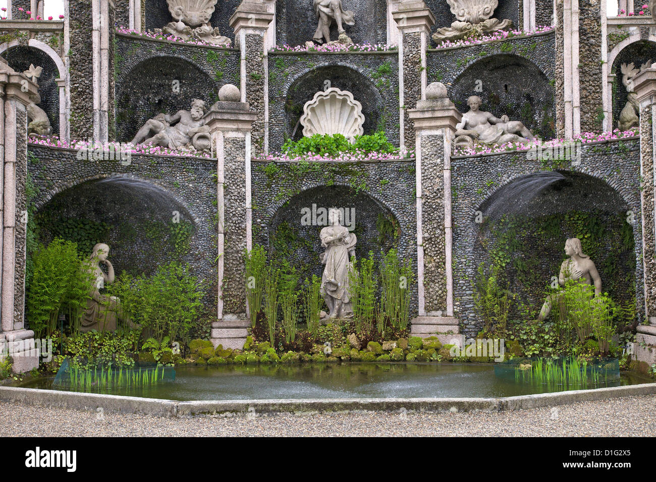 Detail of Water Theatre, Isola Bella Palace Gardens, Borromean Islands, Lake Maggiore, Piedmont, Italian Lakes, - Stock Image