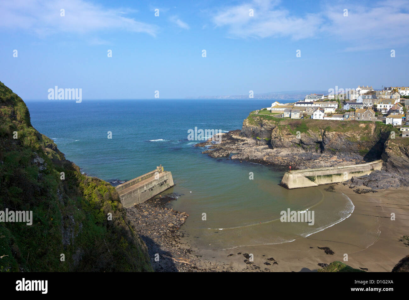 Harbour in Port Isaac in spring sunshine, Cornwall, England, United Kingdom, Europe - Stock Image