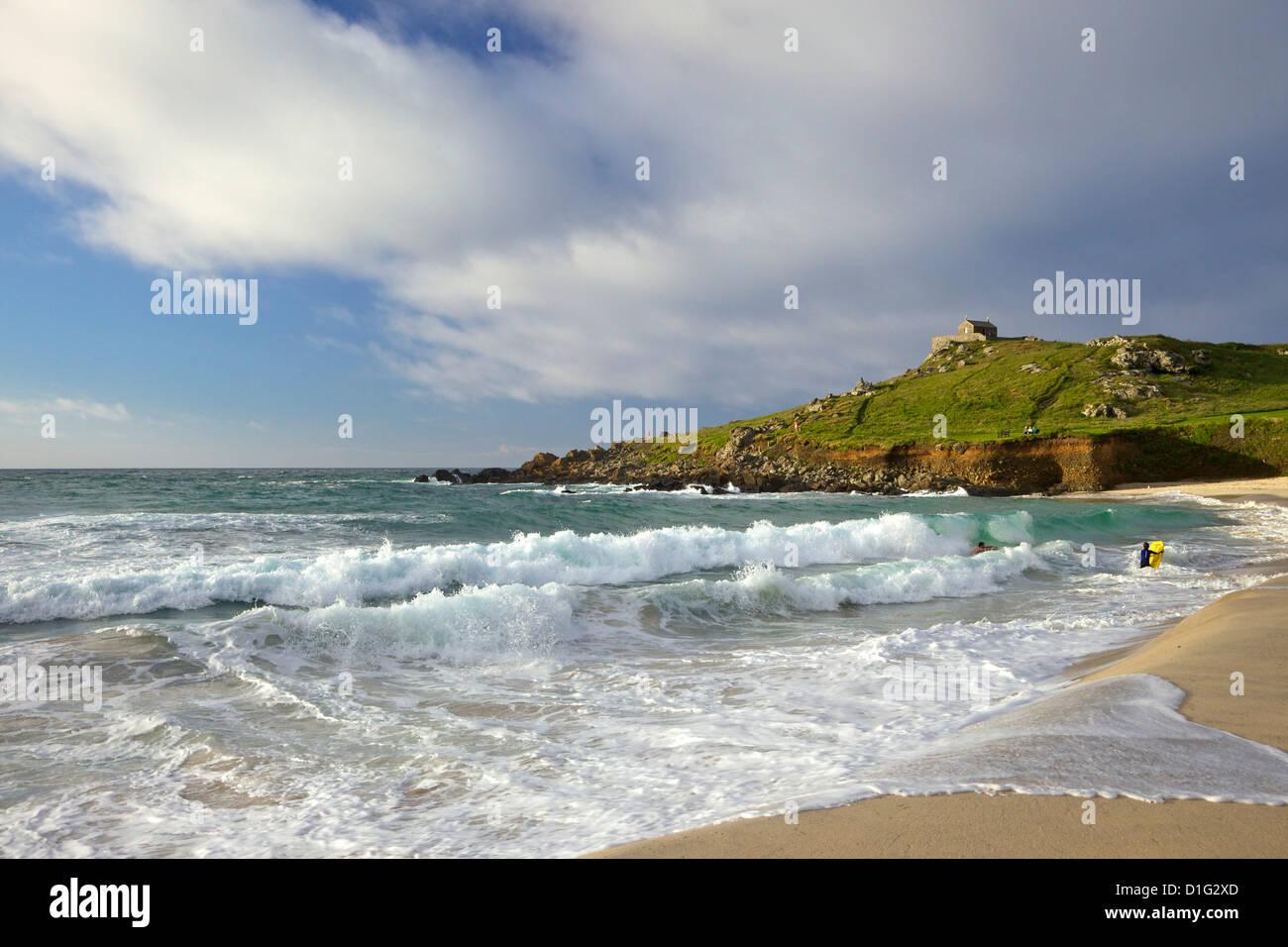 Summer evening sunshine on Porthmeor beach, St Ives, Cornwall, England, United Kingdom, Europe Stock Photo