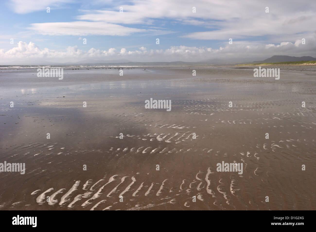 Harlech beach and Tremadog Bay in summer sunshine, Gwynedd, Wales, United Kingdom, Europe - Stock Image