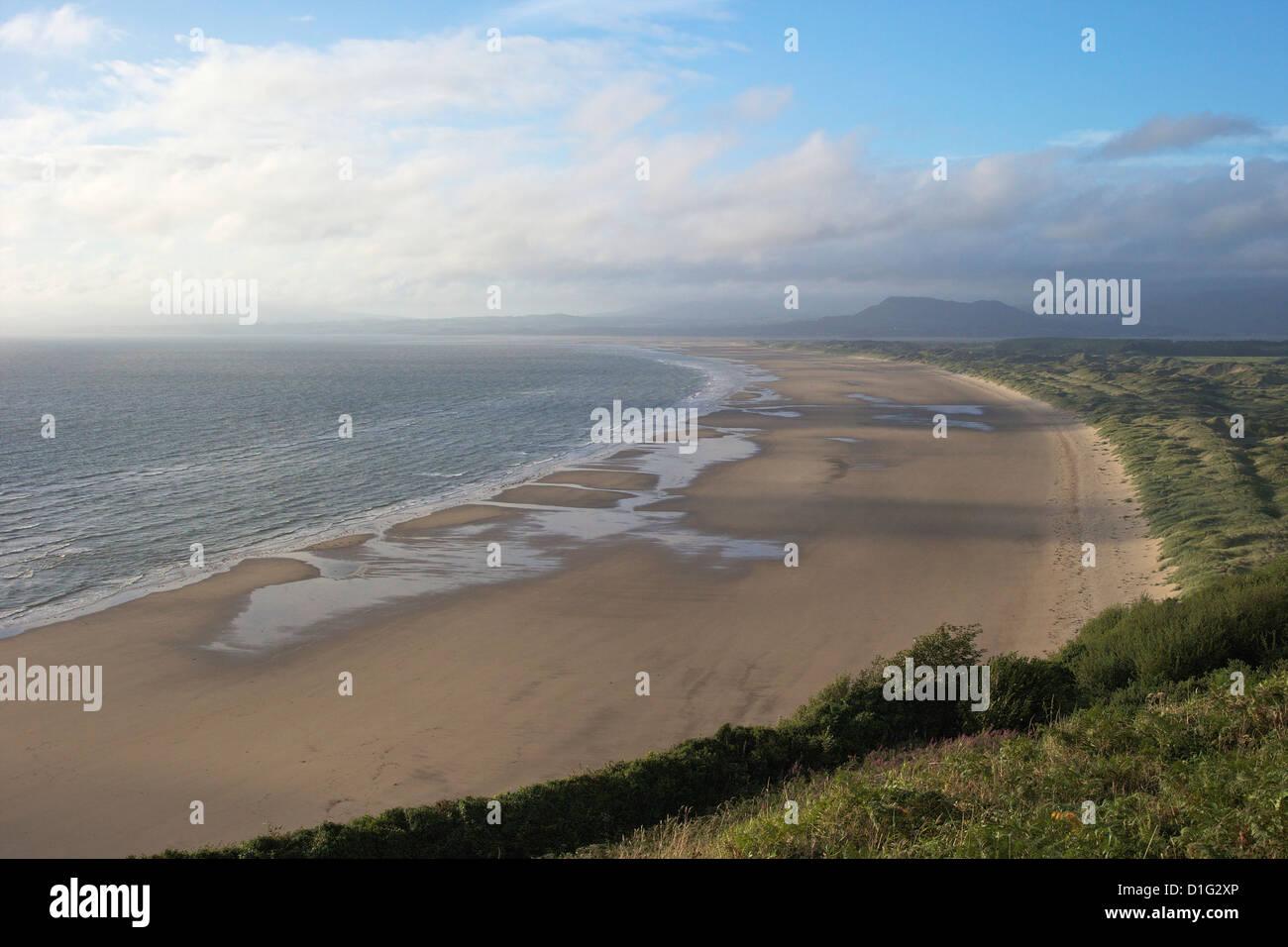 Tremadog Bay and Harlech beach seen from near Llanfair, Gwynedd, Wales, United Kingdom, Europe - Stock Image
