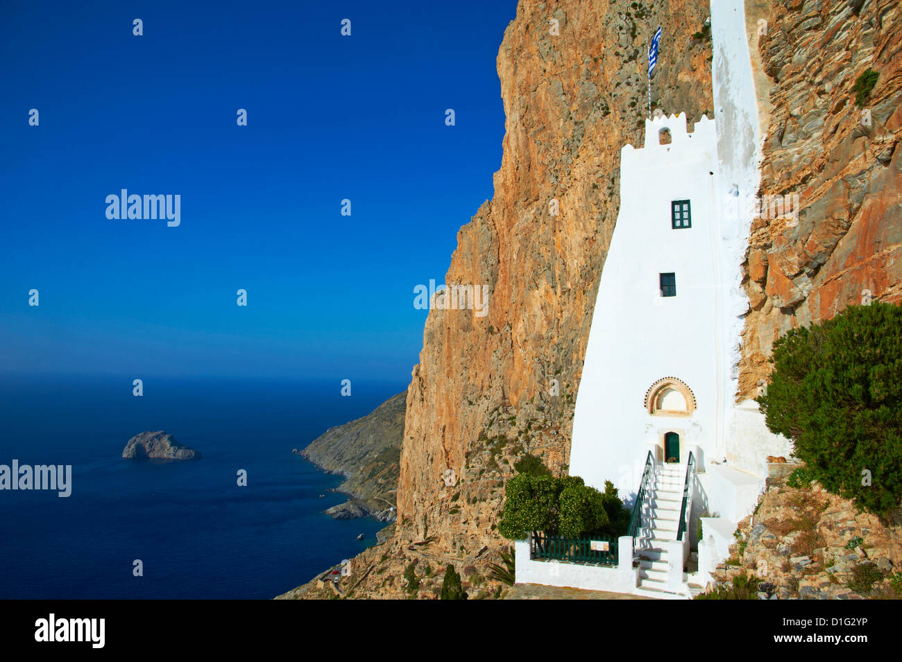 Hozoviotissa monastery and Aegean Sea, Amorgos, Cyclades, Greek Islands, Greece, Europe - Stock Image
