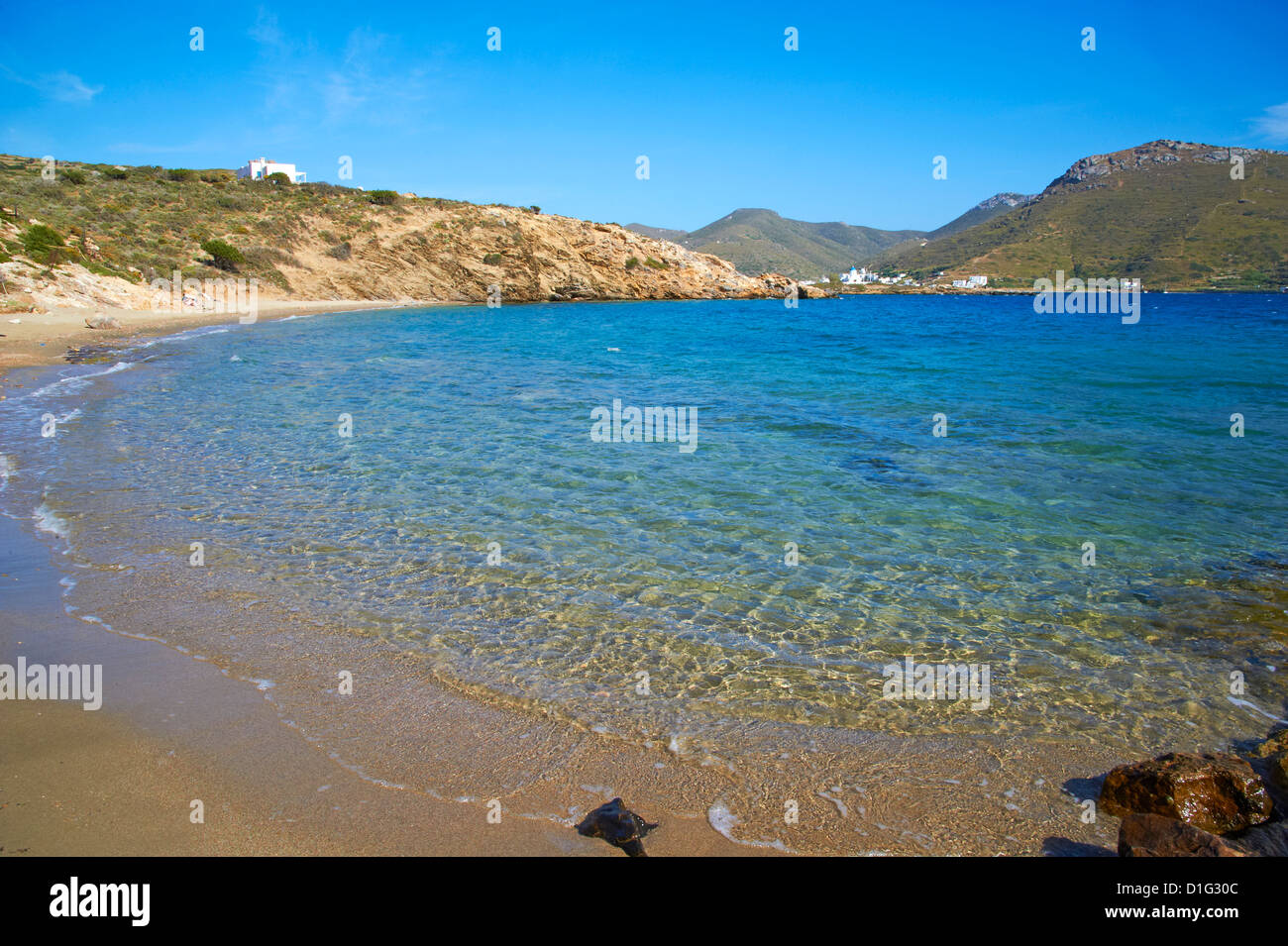 Beach, Agios Panteleimon, Amorgos, Cyclades, Aegean, Greek Islands, Greece, Europe - Stock Image