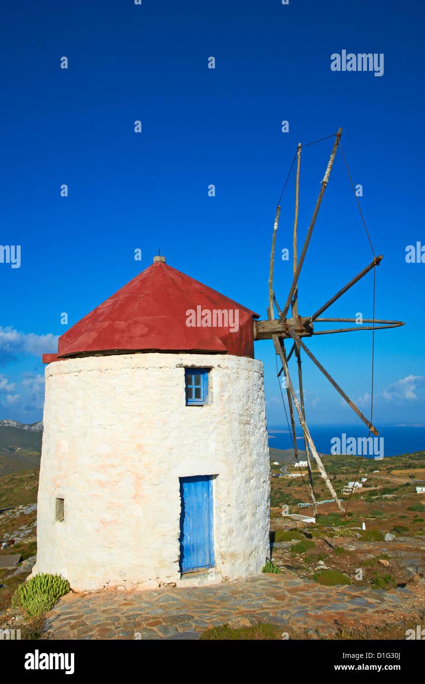 Windmill, Chora, Amorgos, Cyclades, Aegean, Greek Islands, Greece, Europe - Stock Image