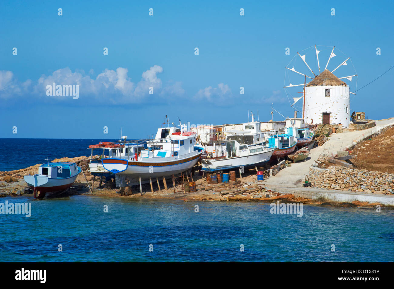 Windmill, Hora, Chora, Koufonissia, Cyclades, Aegean, Greek Islands, Greece, Europe - Stock Image