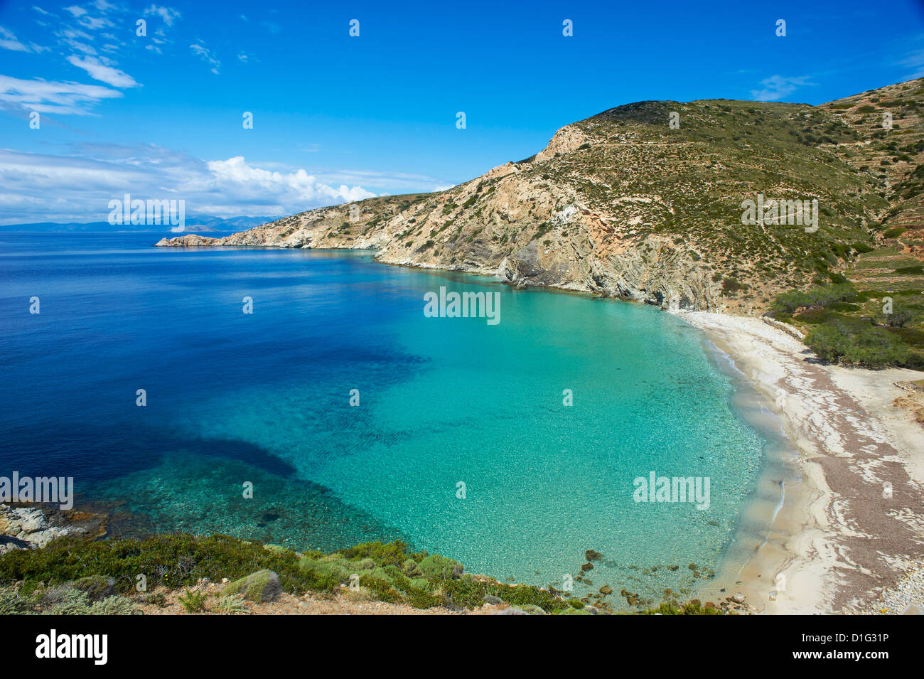 Livadi Beach, Donoussa, Cyclades, Aegean, Greek Islands, Greece, Europe - Stock Image