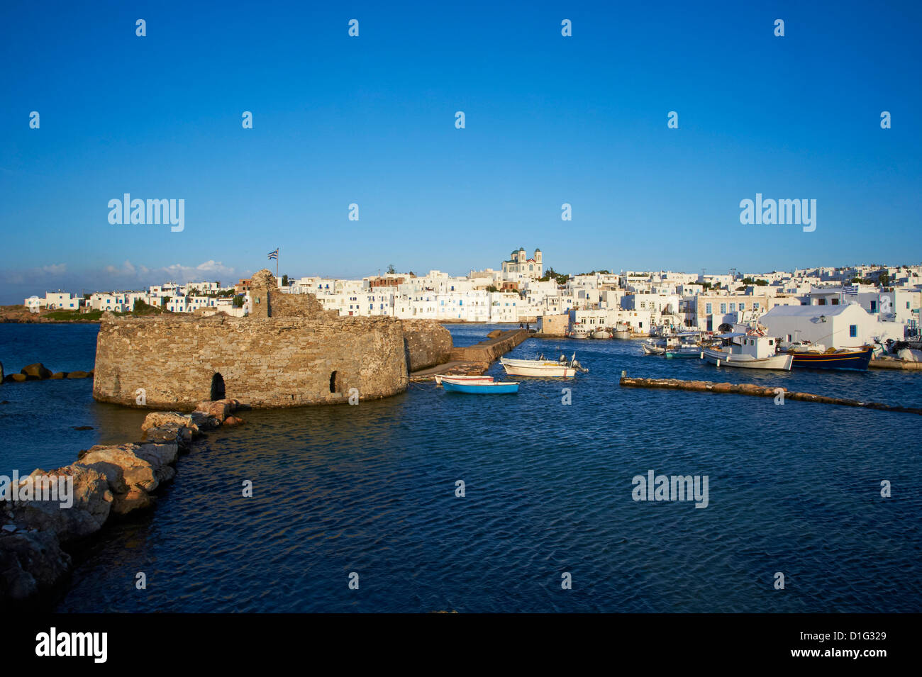 Venetian fortress and port, Naoussa, Paros, Cyclades, Aegean, Greek Islands, Greece, Europe - Stock Image