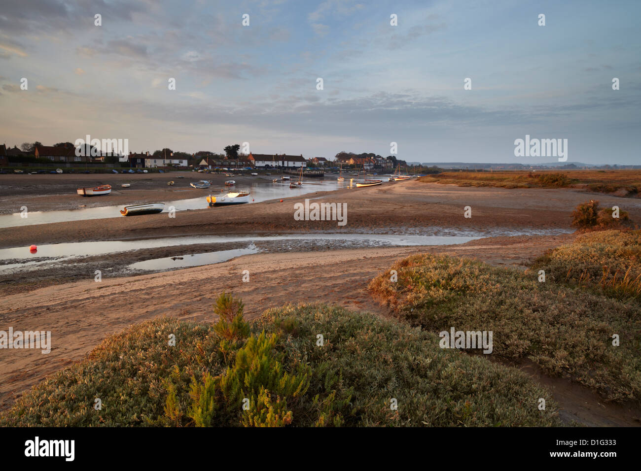 Beautiful early morning light looking across the saltmarshes towards Burnham Overy Staithe, Norfolk, England, United - Stock Image