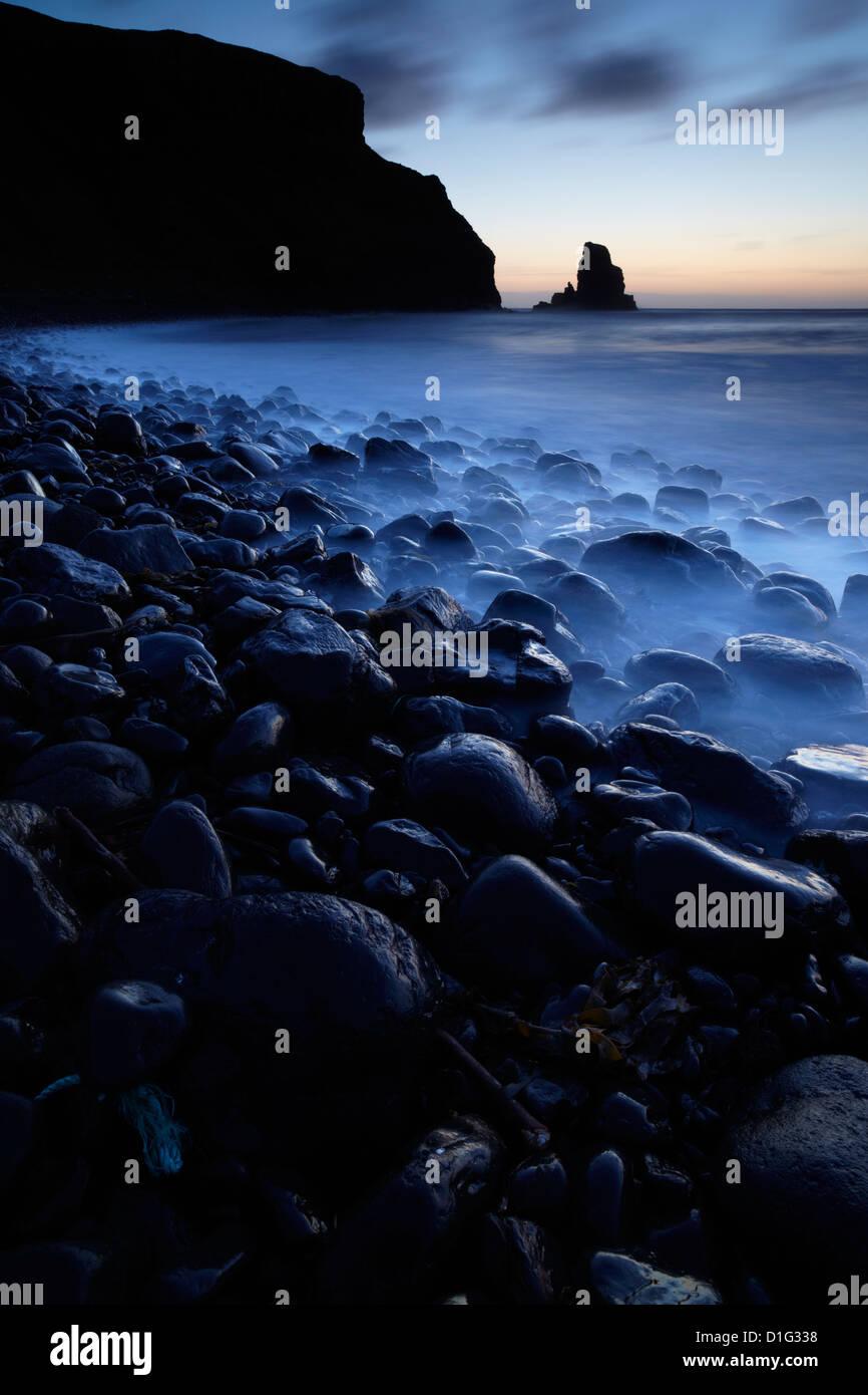 Twilight at Talisker Bay, Isle of Skye, Scotland, United Kingdom, Europe - Stock Image
