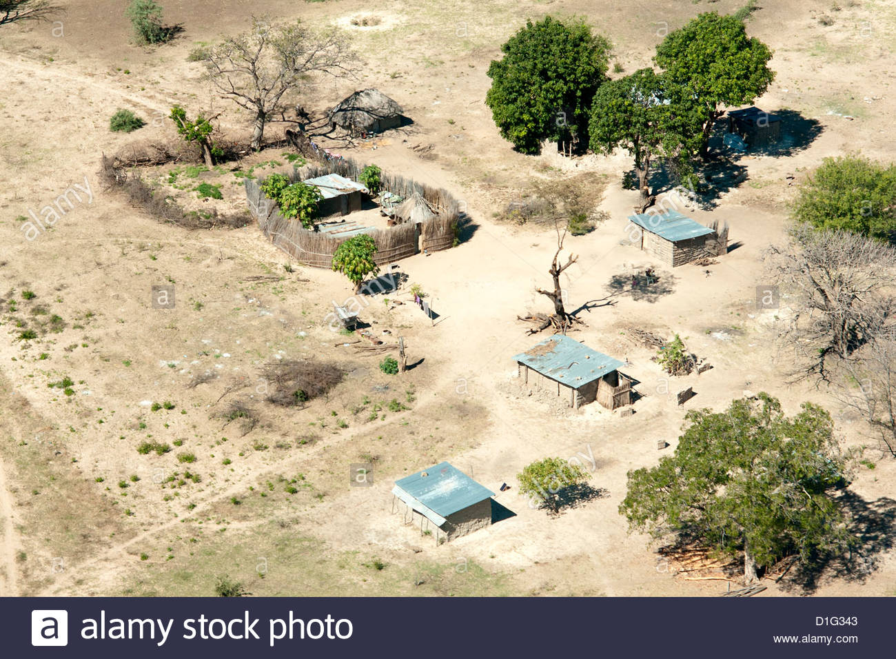 Aerial view of local village, Impalila Island at the confluence of Zambezi and Chobe Rivers, eastern Caprivi Strip, - Stock Image