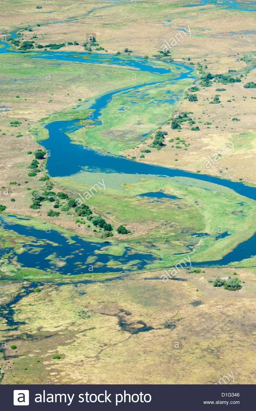Aerial view of floodplains and islands along Zambezi and Chobe rivers confluence, eastern Caprivi Strip, Namibia - Stock Image