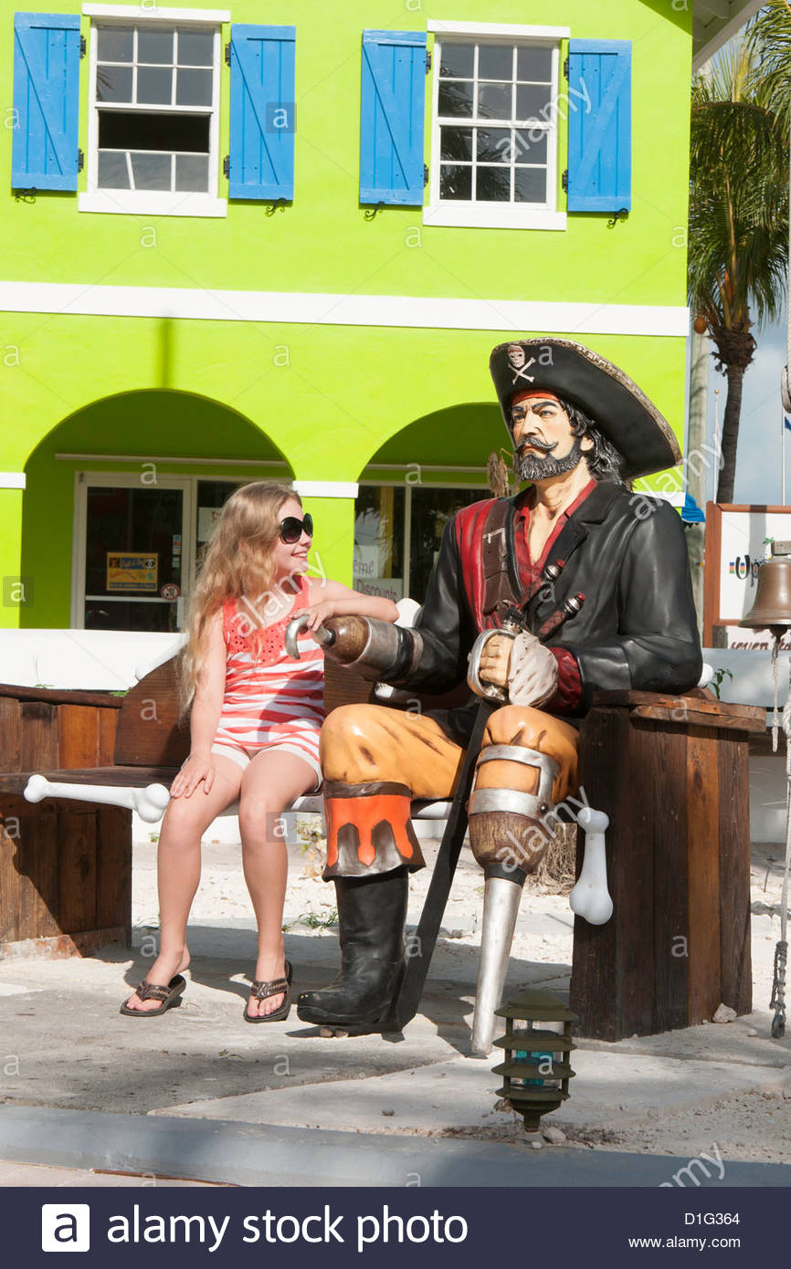 Pirate themed square on Grace Bay, Providenciales, Turks and Caicos Islands, West Indies, Caribbean, Central America - Stock Image