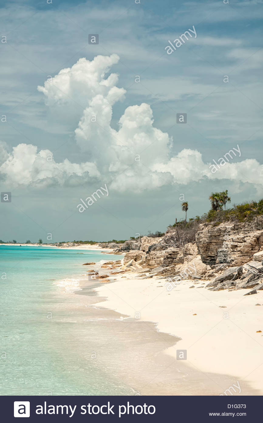 Deserted island (cay), eastern Providenciales, Turks and Caicos Islands, West Indies, Caribbean, Central America - Stock Image