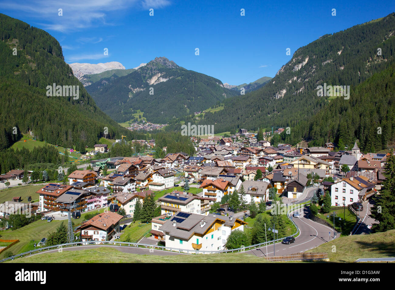 View over town from above, Canazei, Trentino-Alto Adige, Italy, Europe - Stock Image
