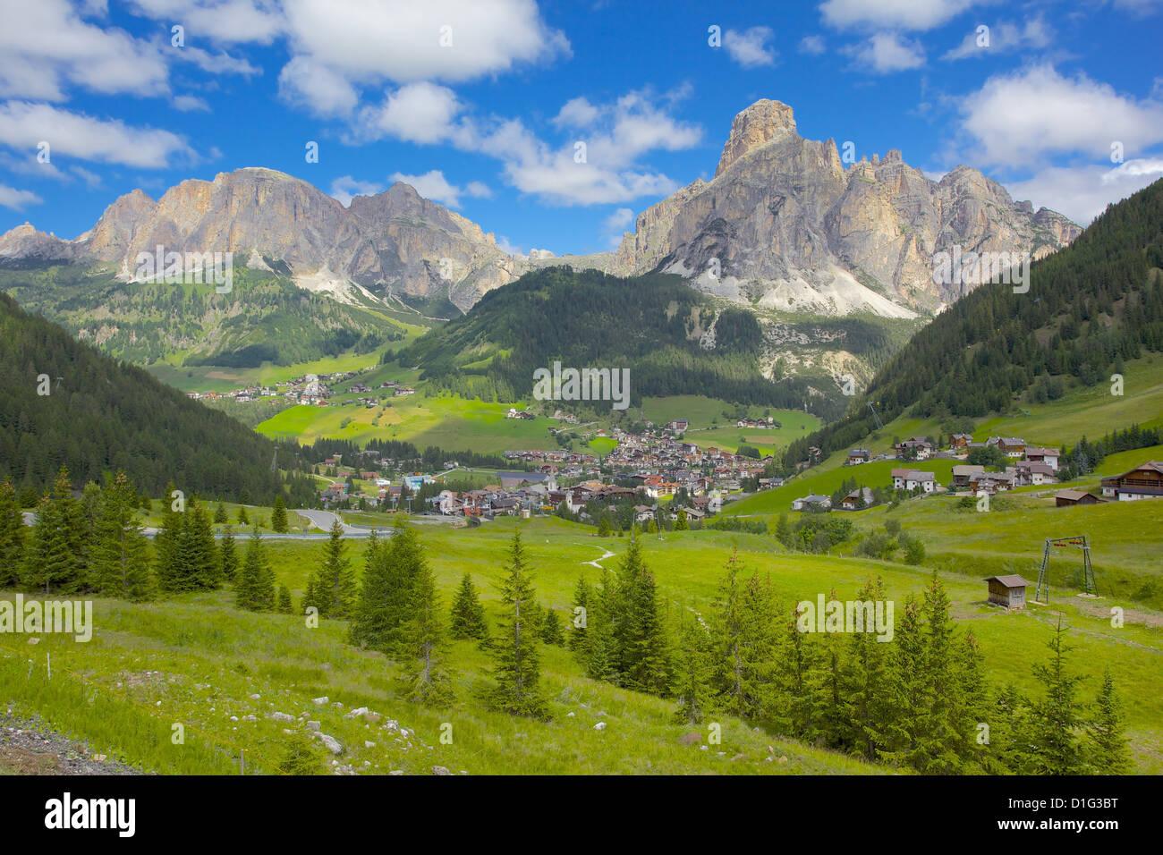 Corvara and Sass Songher Mountain, Badia Valley, Bolzano Province, Trentino-Alto Adige/South Tyrol, Italian Dolomites, Stock Photo