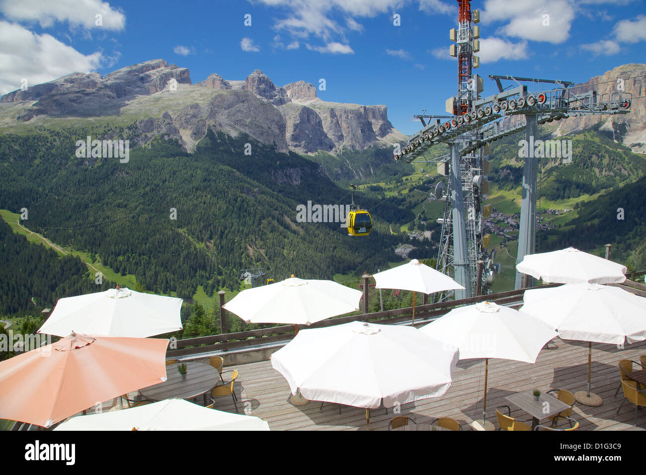 View from Col Alto, Corvara, Badia Valley, Bolzano Province, Trentino-Alto Adige/South Tyrol, Italian Dolomites, Stock Photo