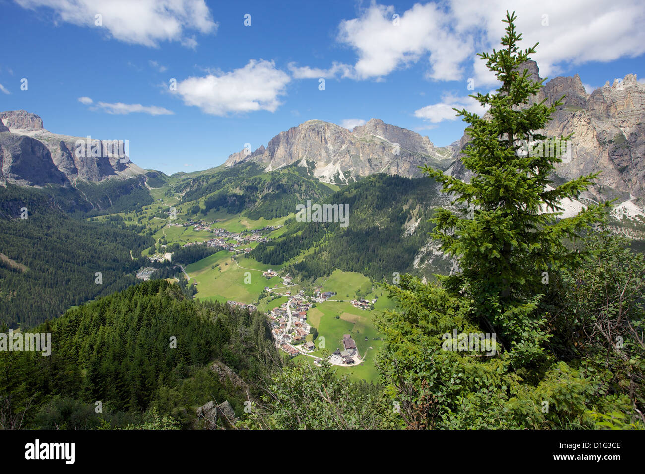 View from Col Alto, Corvara, Badia Valley, Bolzano Province, Trentino-Alto Adige/South Tyrol, Italian Dolomites, Stock Photo