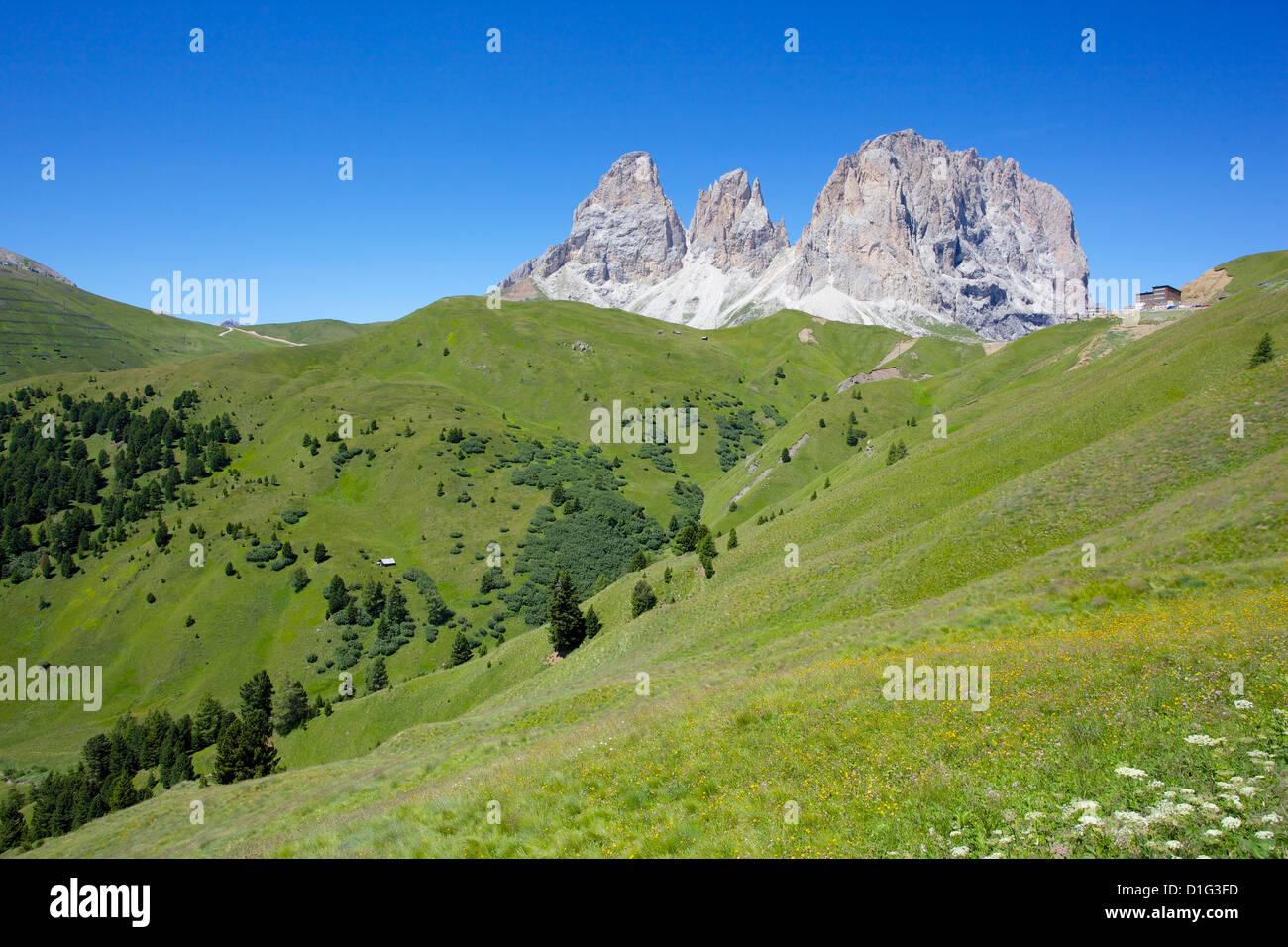 Sassolungo Group, Sella Pass, Trento and Bolzano Provinces, Italian Dolomites, Italy, Europe - Stock Image
