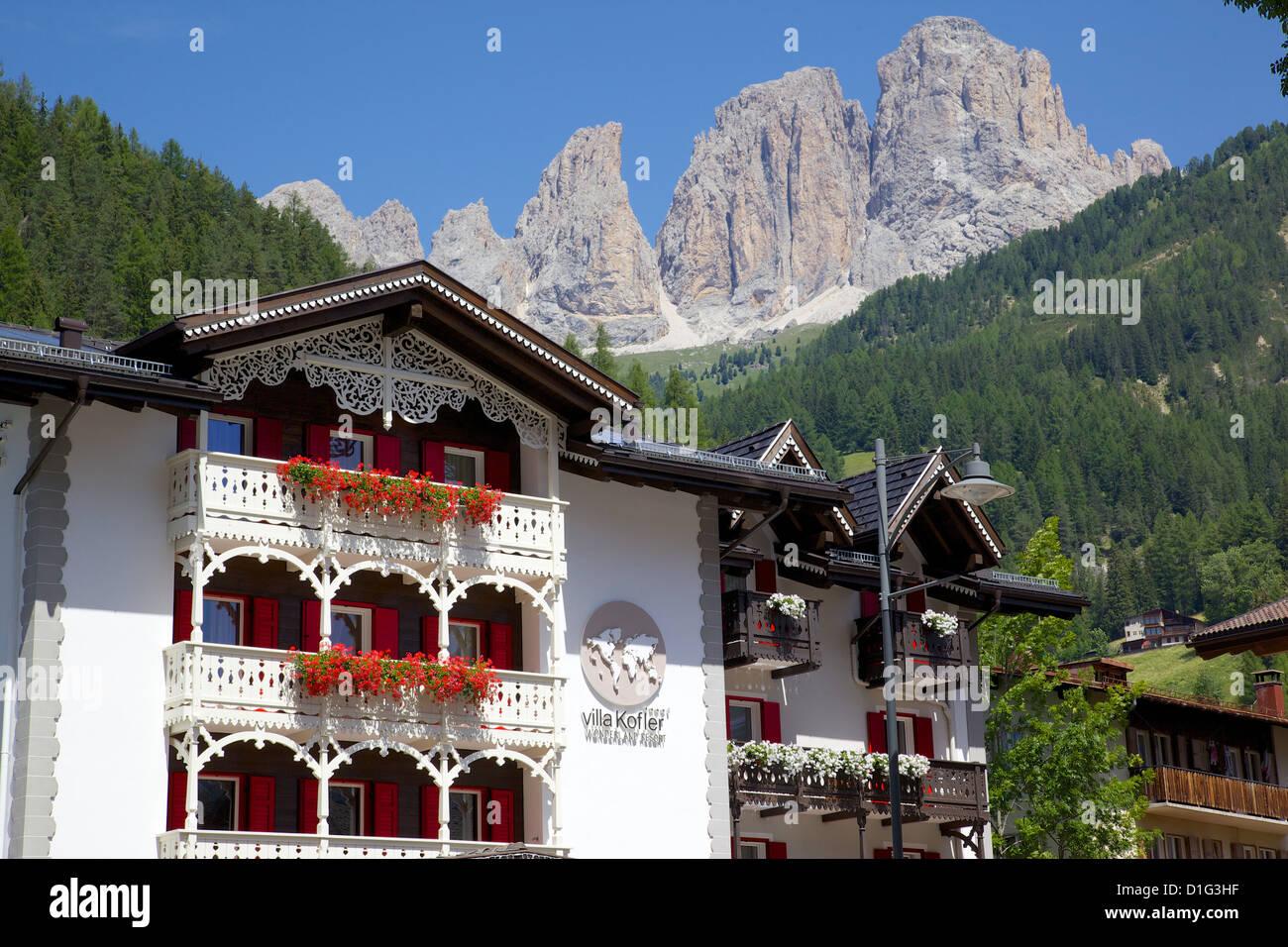 Chalet balconies, Ciampedel, Fassa Valley, Trento Province, Trentino-Alto Adige/South Tyrol, Italian Dolomites, - Stock Image
