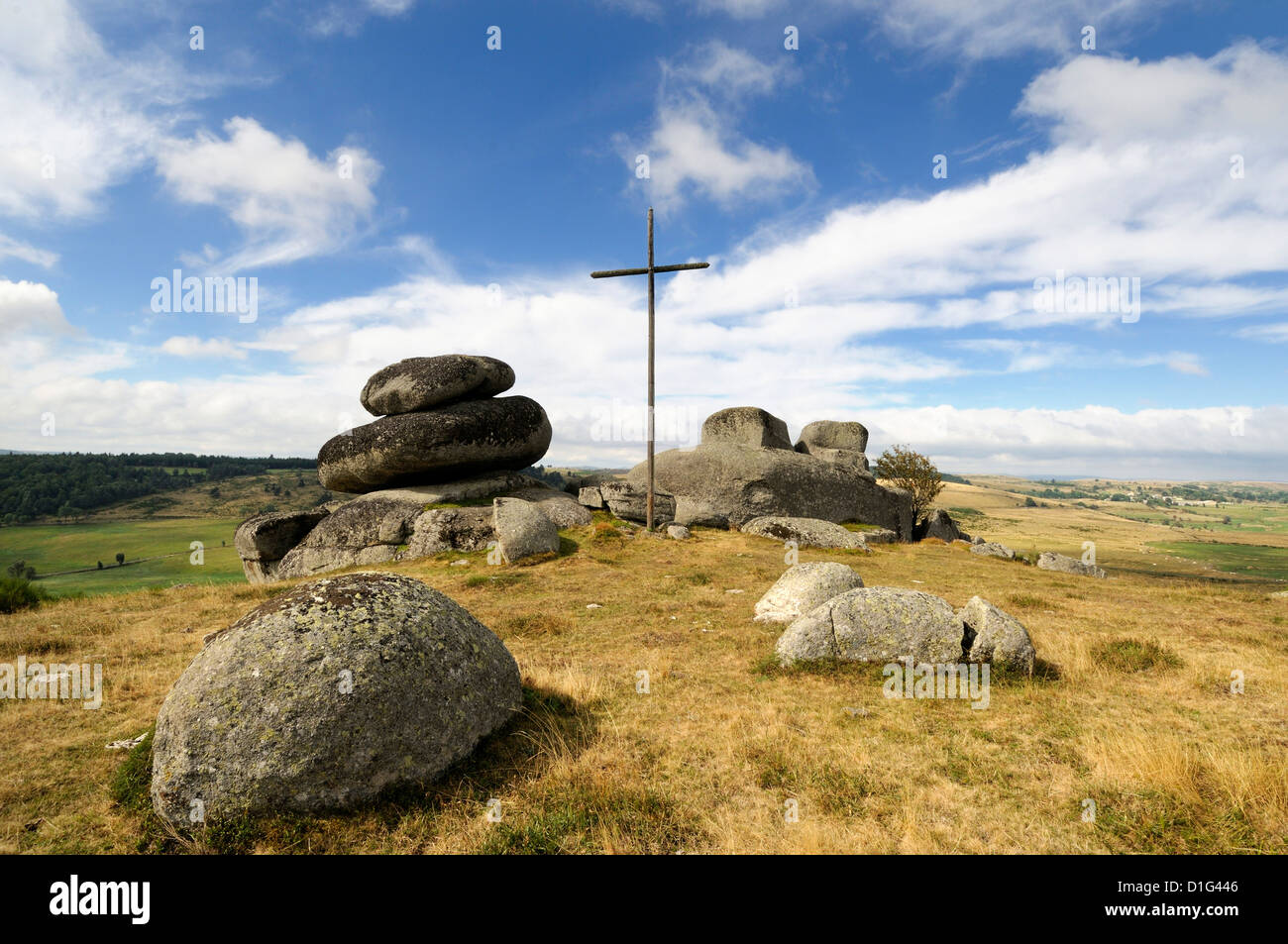 Cross on the Way of St James on the route to Santiago de Compostela in Aubrac, France, Europe Stock Photo