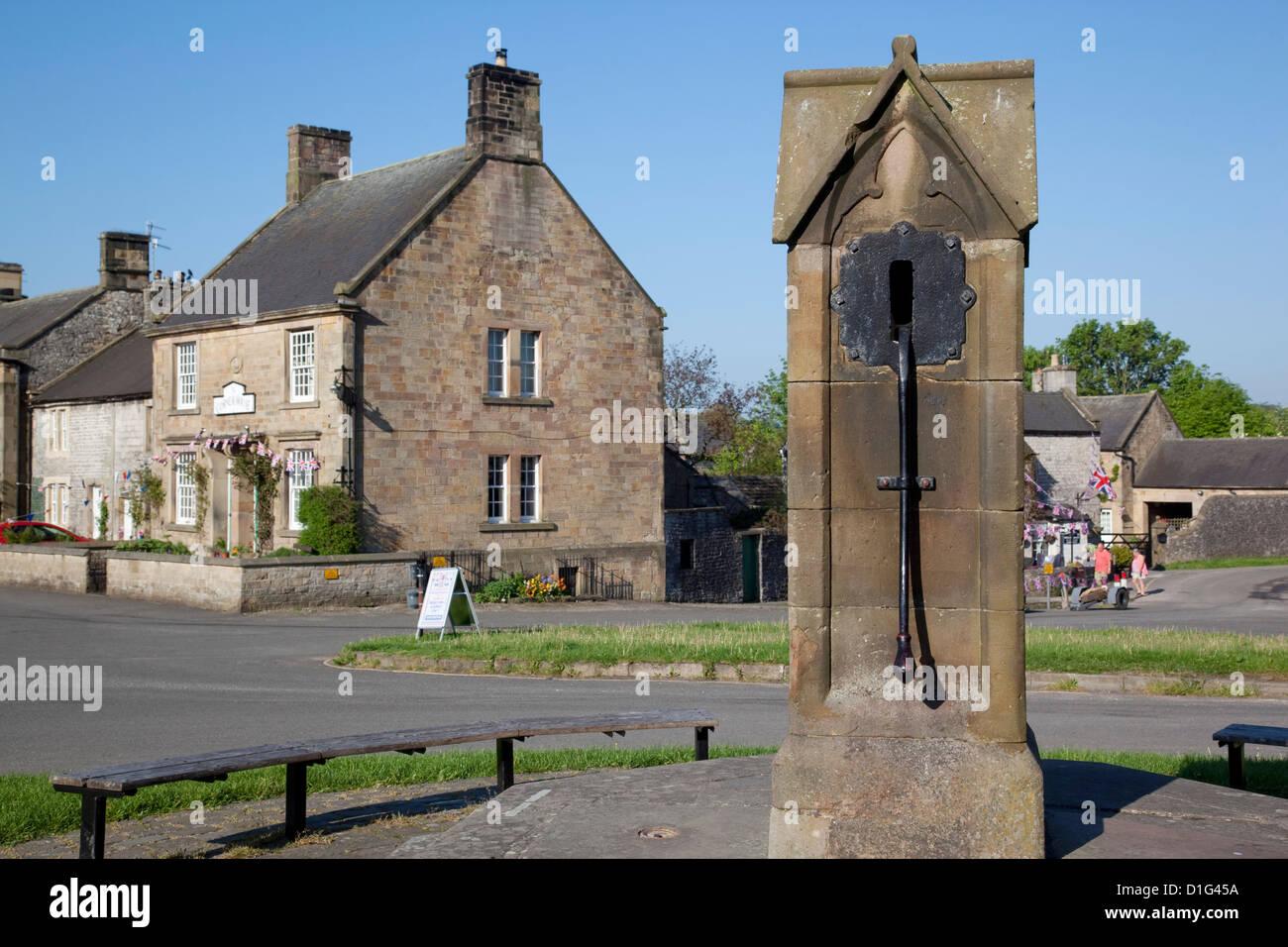 Village well, Hartington, Peak District, Derbyshire, England, United Kingdom, Europe - Stock Image